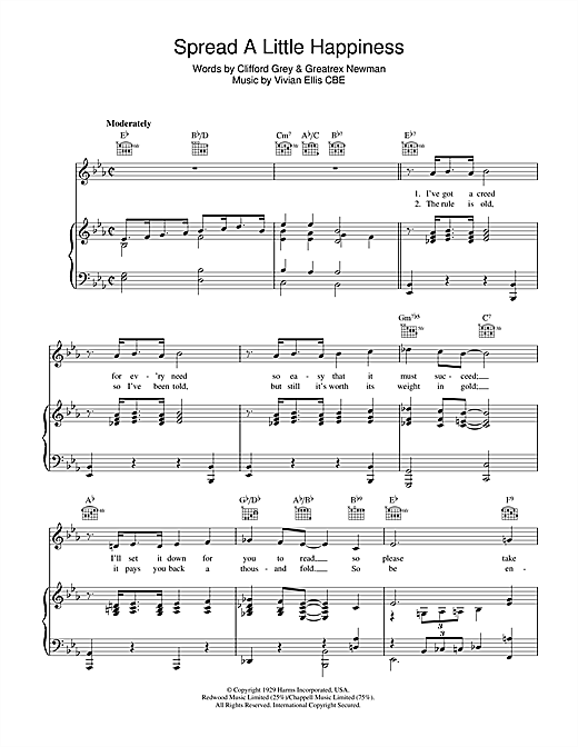 Spread A Little Happiness Sheet Music