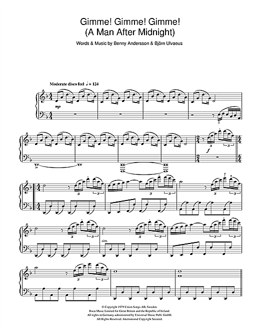 Gimme! Gimme! Gimme! (A Man After Midnight) Sheet Music