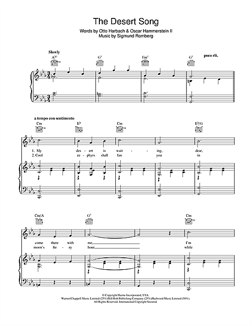 The Desert Song sheet music by Sigmund Romberg (Piano, Vocal ...