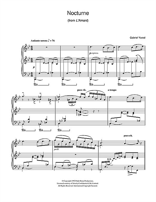 Nocturne (from L'Amant) Sheet Music