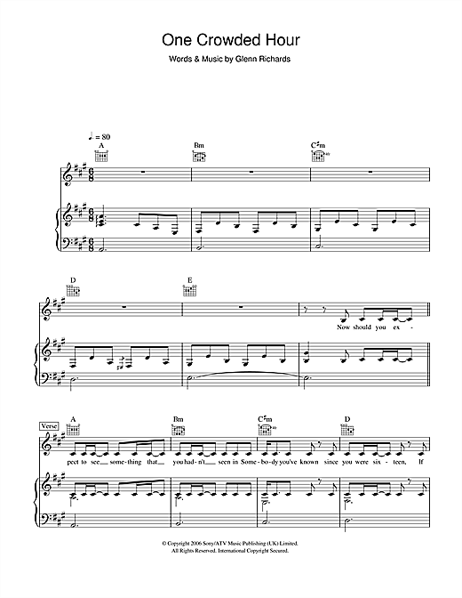 One Crowded Hour Sheet Music