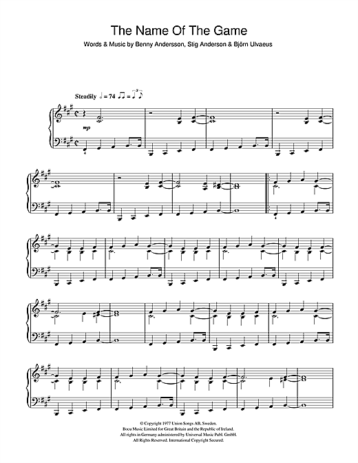 The Name Of The Game Sheet Music