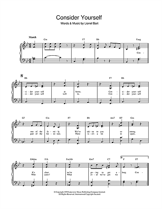 Consider Yourself (from Oliver!) Sheet Music