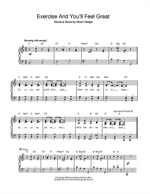 Partition piano Exercise And You'll Feel Great de Alison Hedger - Piano Voix