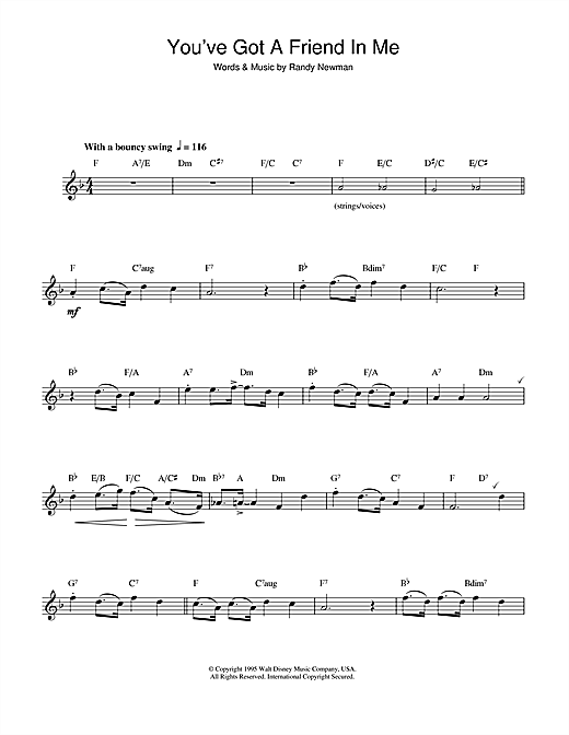 Youve Got A Friend In Me From Disneys Toy Story Sheet Music By