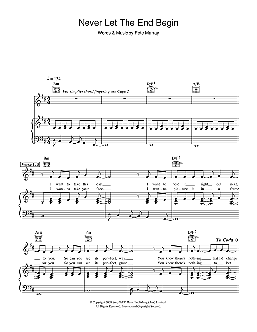 Never Let The End Begin Sheet Music