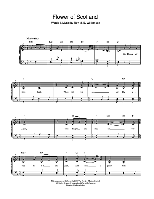 Flower Of Scotland (Unofficial Scottish National Anthem) Sheet Music