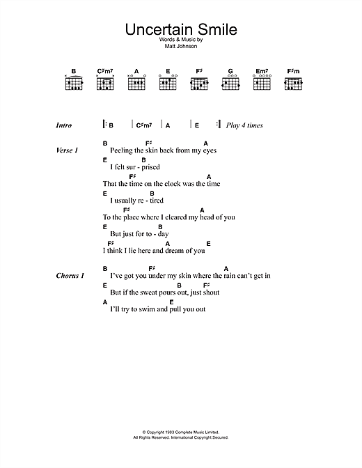 Uncertain Smile Sheet Music