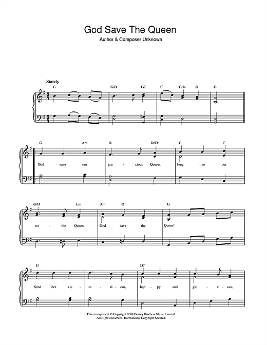 God Save The Queen (UK National Anthem) Sheet Music