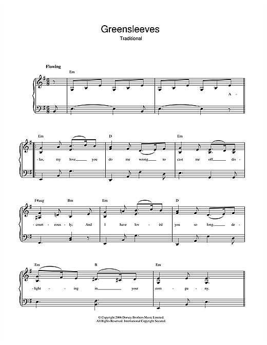 Greensleeves Sheet Music