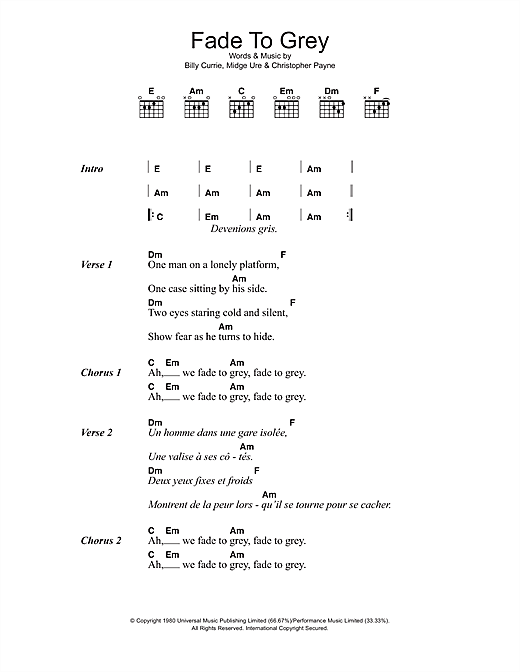 Fade To Grey (Guitar Chords/Lyrics)