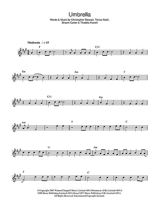 Umbrella (feat. Jay-Z) sheet music by Rihanna (Alto Saxophone u2013 44000)