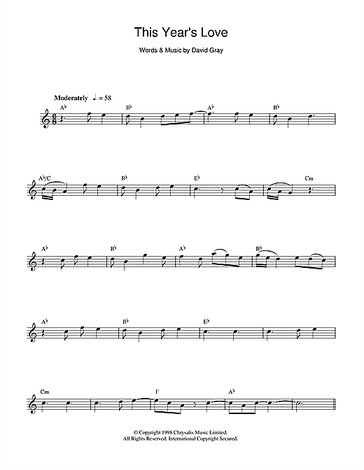 This Year's Love Sheet Music