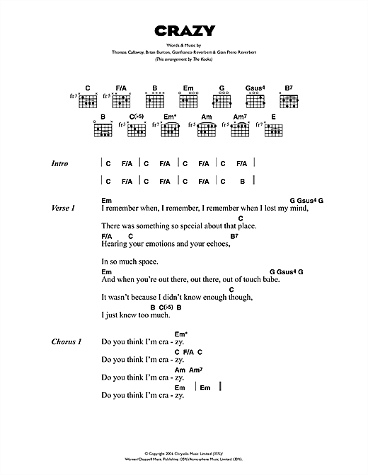 Crazy Sheet Music By Gnarls Barkley Lyrics Chords 44012