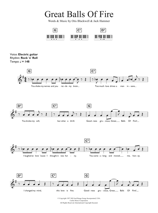 Great Balls Of Fire Sheet Music