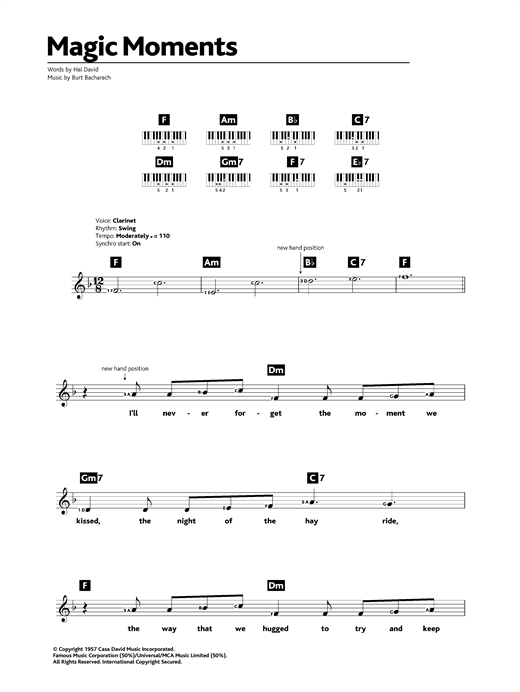 Magic Moments Sheet Music