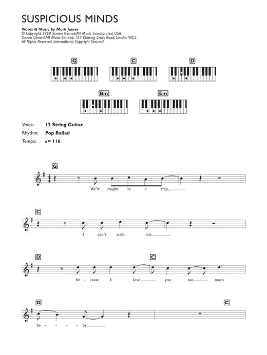 Suspicious Minds Sheet Music