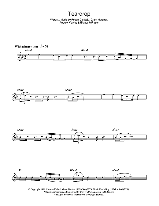 Teardrop Sheet Music