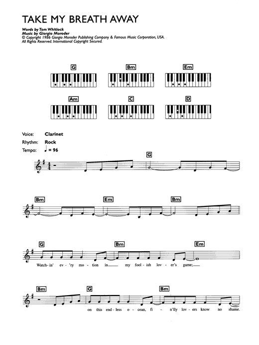 Take My Breath Away Sheet Music
