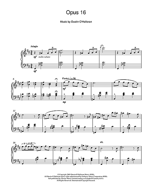 Opus 16 Sheet Music