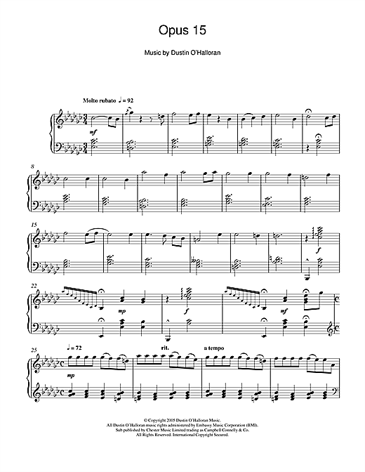 Opus 15 Sheet Music