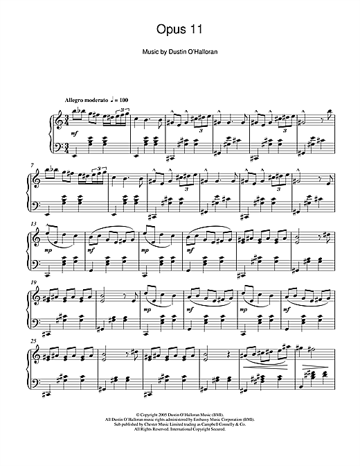 Partition piano Opus 11 de Dustin O'Halloran - Piano Solo