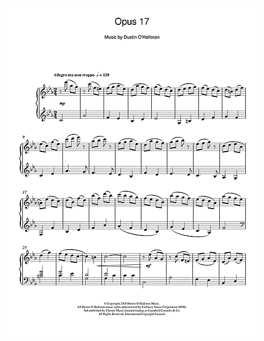 Partition piano Opus 17 de Dustin O'Halloran - Piano Solo