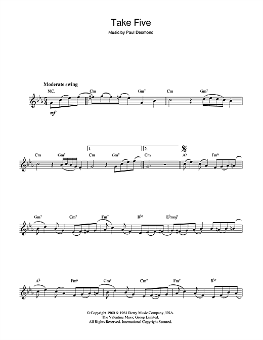 Partition flûte Take Five de Dave Brubeck - Flute traversiere