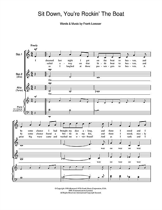 Sit Down, You're Rockin' The Boat Sheet Music