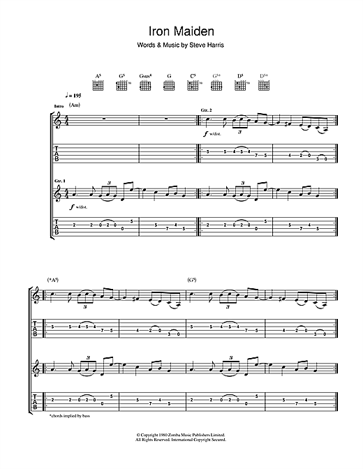Tablature guitare Iron Maiden de Iron Maiden - Tablature Guitare