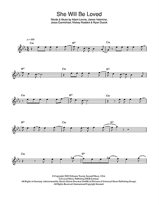 She Will Be Loved Sheet Music