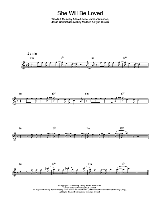 She Will Be Loved Sheet Music By Maroon 5 Alto Saxophone 44199
