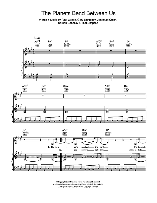 The Planets Bend Between Us Sheet Music