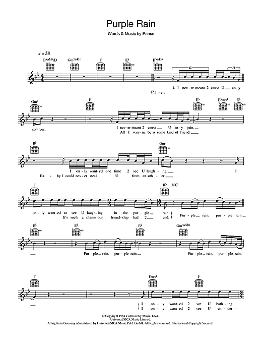 Piano piano chords melody : Purple Rain chords by Prince (Melody Line, Lyrics & Chords – 44213)