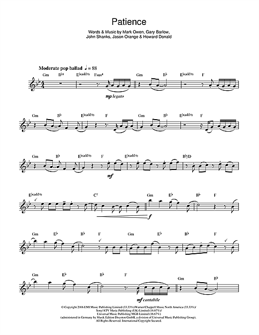 Patience Sheet Music