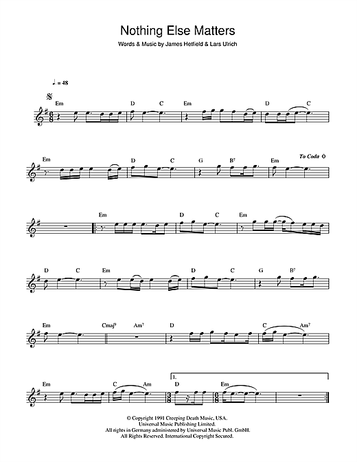 Piano piano tabs nothing else matters : Nothing Else Matters sheet music by Metallica (Flute – 44220)