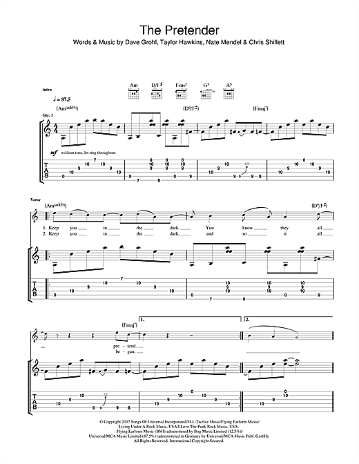 Tablature guitare The Pretender de Foo Fighters - Tablature Guitare