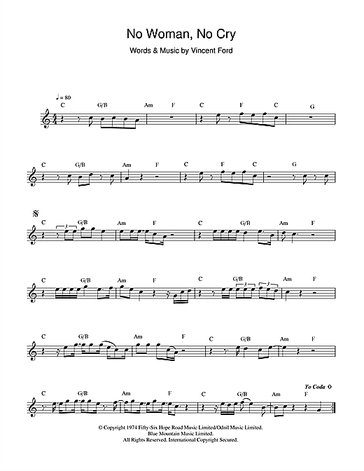 No Woman, No Cry Sheet Music