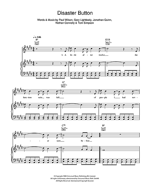 Disaster Button Sheet Music