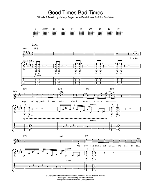 Tablature guitare Good Times Bad Times de Led Zeppelin - Tablature Guitare