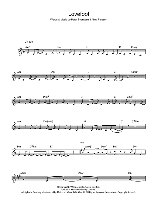 Lovefool Sheet Music