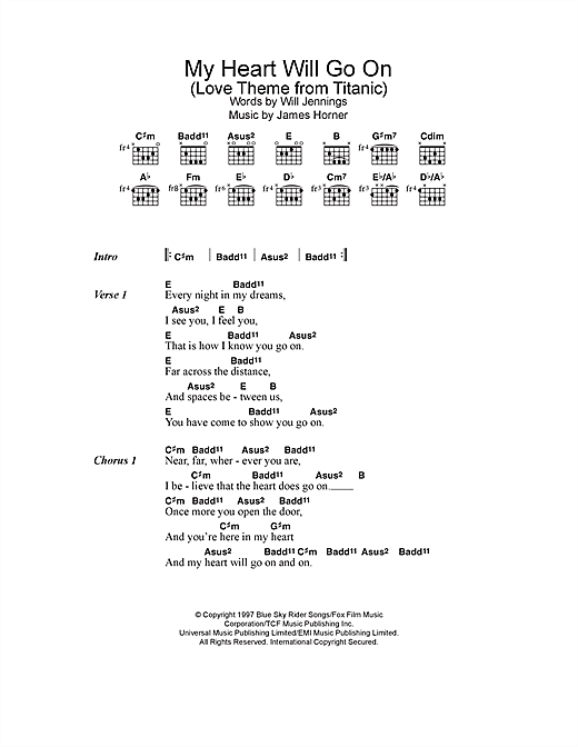 Violin violin chords my heart will go on : My Heart Will Go On (Love Theme from Titanic) sheet music by ...