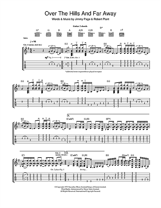 Tablature guitare Over The Hills And Far Away de Led Zeppelin - Tablature Guitare