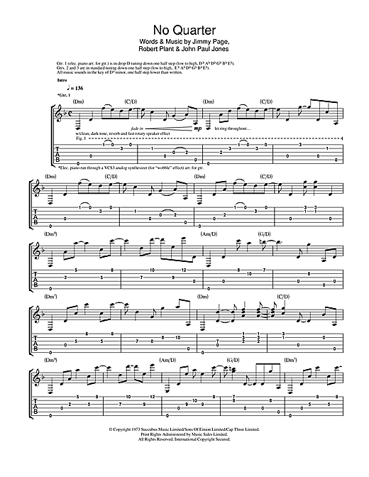 No Quarter Sheet Music