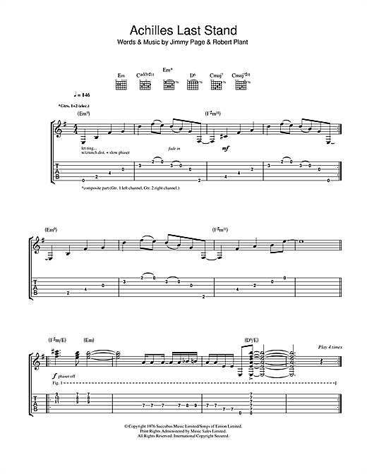 Achilles Last Stand Sheet Music