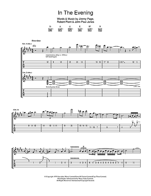Tablature guitare In The Evening de Led Zeppelin - Tablature Guitare