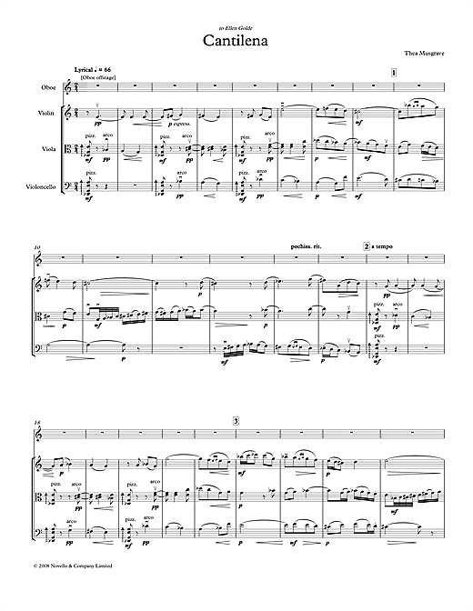 Partition autre Cantilena for Oboe Quartet (full score) de Thea Musgrave - Piano Solo
