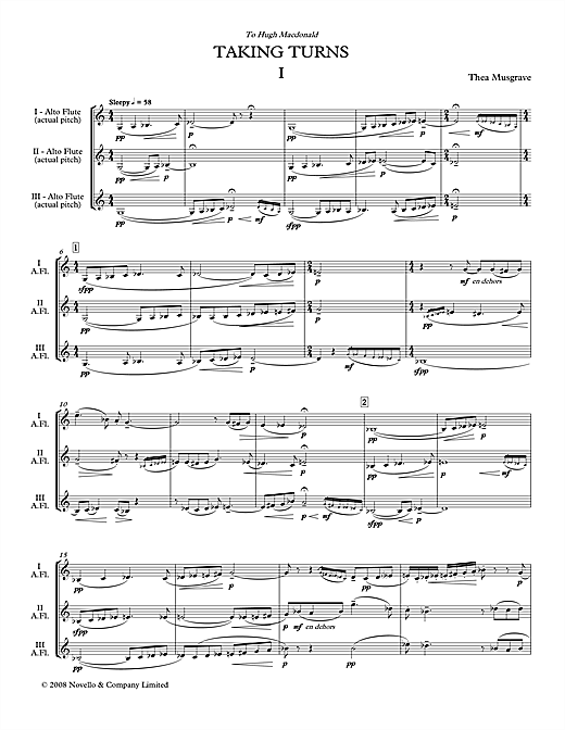 Taking Turns for Flute Trio (full score) Sheet Music
