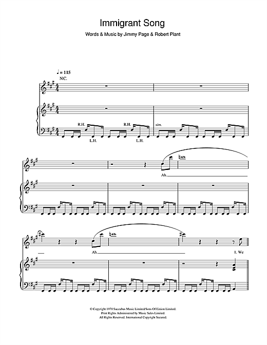 Immigrant Song Sheet Music