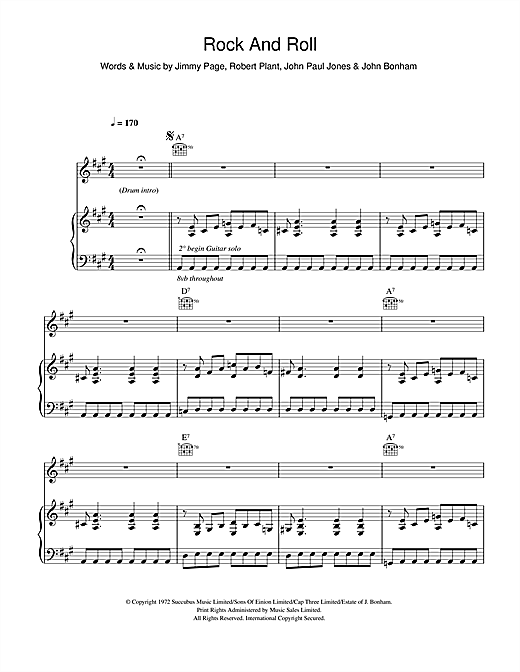 Partition piano Rock And Roll de Led Zeppelin - Piano Voix Guitare